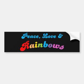 Peace Love and Rainbows Bumper Sticker