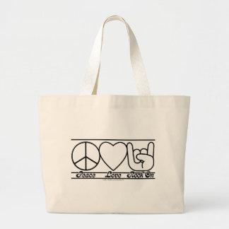 Peace Love and RockOn Jumbo Tote Bag