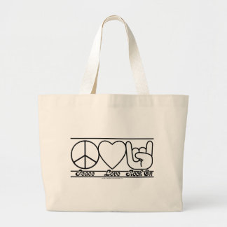 Peace Love and RockOn Large Tote Bag