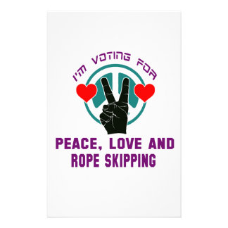 Peace Love And Rope Skipping. Customized Stationery