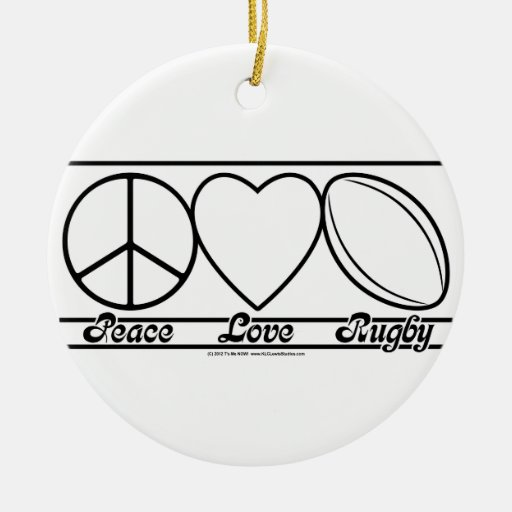 Peace Love and Rugby Christmas Tree Ornaments