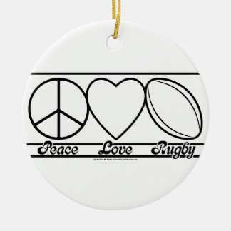 Peace Love and Rugby Round Ceramic Decoration
