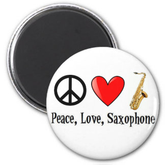 Peace, Love, and Saxophone Magnet