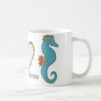 Peace, Love and Seahorses Classic White Coffee Mug
