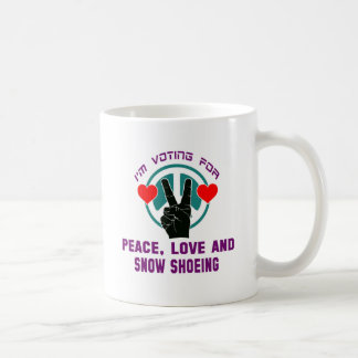 Peace Love And Snow Shoeing. Classic White Coffee Mug
