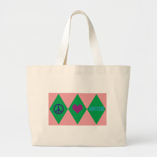 Peace Love and Soccer Argyle Large Tote Bag