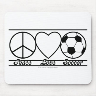 Peace Love and Soccer Mouse Mat