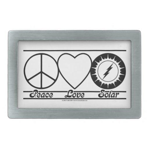 Peace Love and Solar Rectangular Belt Buckle