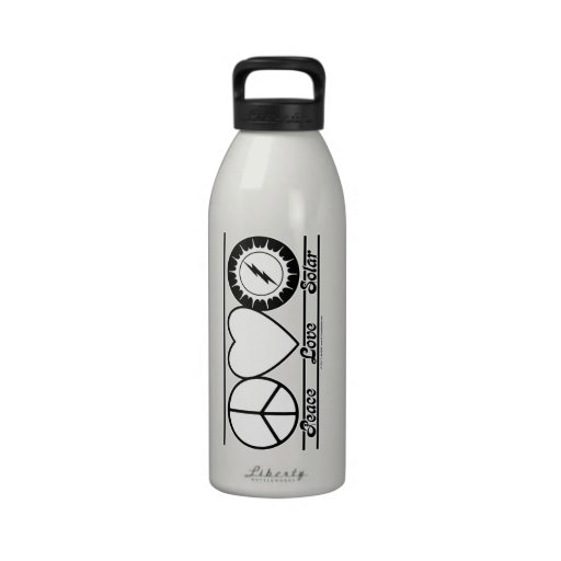 Peace Love and Solar Water Bottles