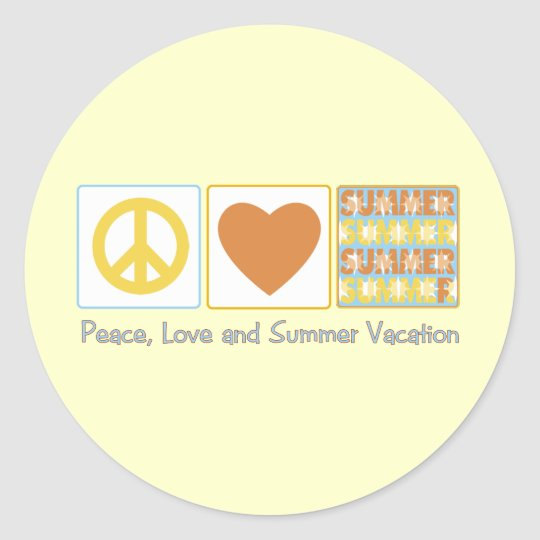 Peace, Love and Summer Vacation Round Sticker