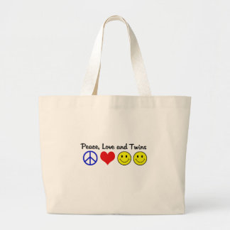 Peace Love and Twins Large Tote Bag