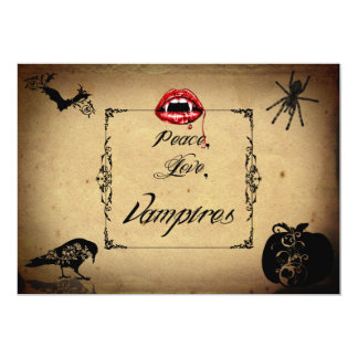 Peace, Love, and Vampires Halloween Party Card
