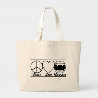 Peace Love and Vampires Jumbo Tote Bag
