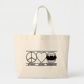 Peace Love and Vampires Large Tote Bag