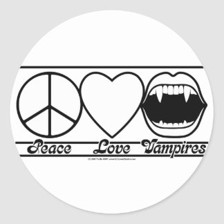 Peace Love and Vampires Round Sticker