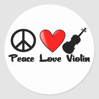 Peace, Love, and Violin Classic Round Sticker
