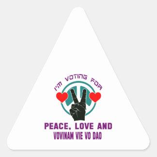 Peace Love And Vovinam vie vo dao. Triangle Sticker