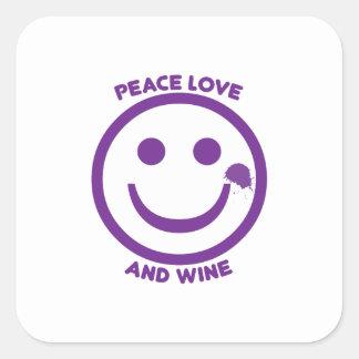 Peace Love And Wine Square Sticker