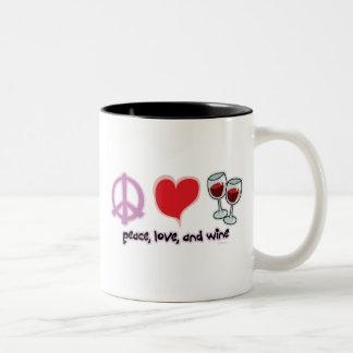 Peace, Love, and Wine Two-Tone Coffee Mug