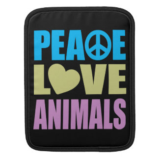 Peace Love Animals iPad Sleeve
