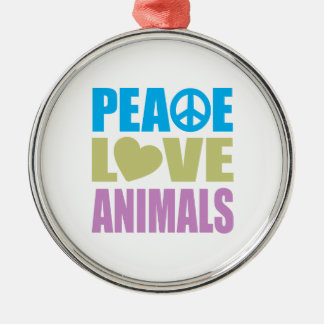 Peace Love Animals Silver-Colored Round Decoration