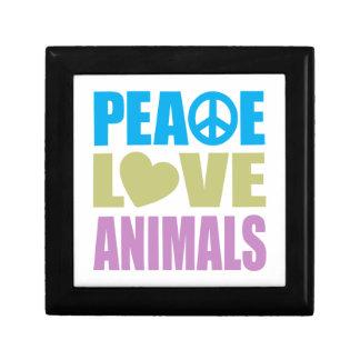 Peace Love Animals Small Square Gift Box