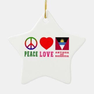 Peace Love Antigua and Barbuda Christmas Tree Ornament