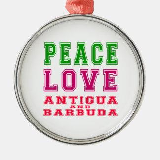 Peace Love Antigua and Barbuda Christmas Ornament
