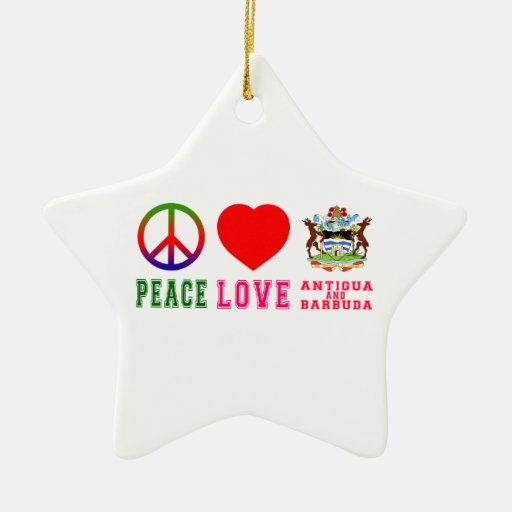 Peace Love Antigua and Barbuda Ornament
