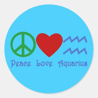 Peace Love Aquarius Products Classic Round Sticker