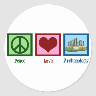 Peace Love Archaeology Classic Round Sticker