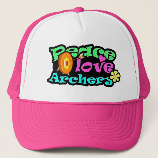Peace, Love, Archery Trucker Hat