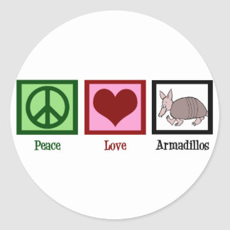 Peace Love Armadillos Classic Round Sticker