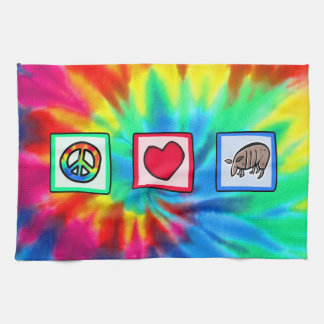 Peace, Love, Armadillos Tea Towel