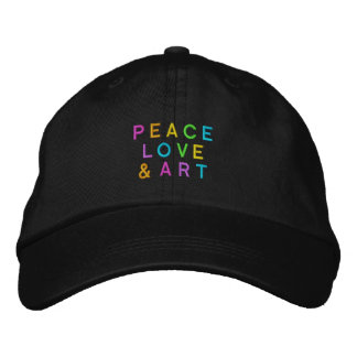 Peace, Love & Art Embroidered Hats