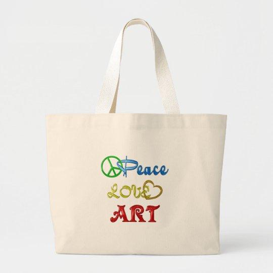 PEACE LOVE ART LARGE TOTE BAG