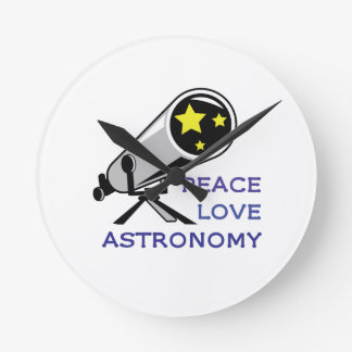 PEACE LOVE ASTRONOMY ROUND WALLCLOCK