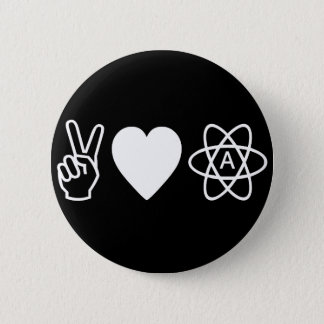 Peace Love Atheism 6 Cm Round Badge