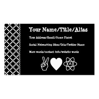 Peace Love Atheism Business Card Templates