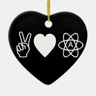 Peace Love Atheism Christmas Ornament