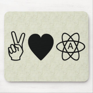 Peace Love Atheism Mouse Pad