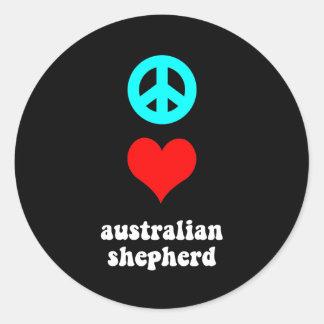 Peace love Australian Shepherd Classic Round Sticker