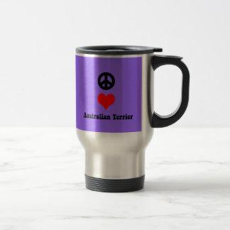 peace love australian terrier stainless steel travel mug
