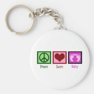 Peace Love Baby Girl Basic Round Button Key Ring