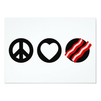 Peace Love Bacon 13 Cm X 18 Cm Invitation Card