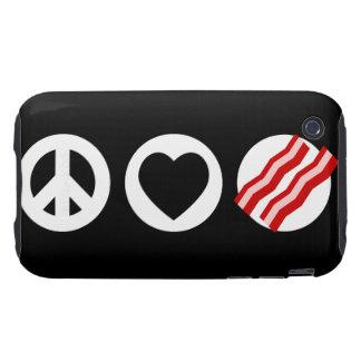 Peace Love Bacon Tough iPhone 3 Case
