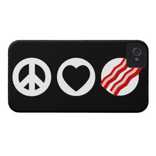 Peace Love Bacon iPhone 4 Cover
