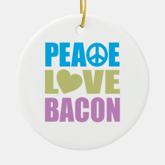 Peace Love Bacon Christmas Ornament