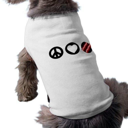 Peace Love Bacon Pet Tee Shirt