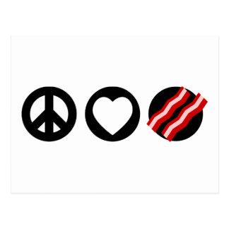 Peace Love Bacon Postcard